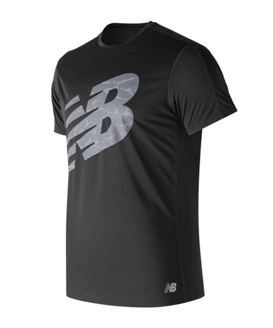 daf72018ff1d8 ニューバランス ( new balance ) スポーツウェア 半袖Tシャツ アクセレレイトグラフィック ショートスリーブTシャツ AMT83174  BK