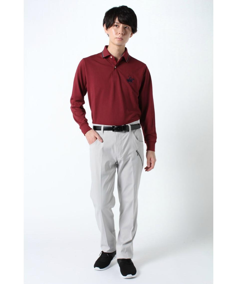 ビバリーヒルズポロクラブ(BEVERLY HILLS POLO CLUB) 長袖 ポロシャツ リブ襟カノコ 0432-9600