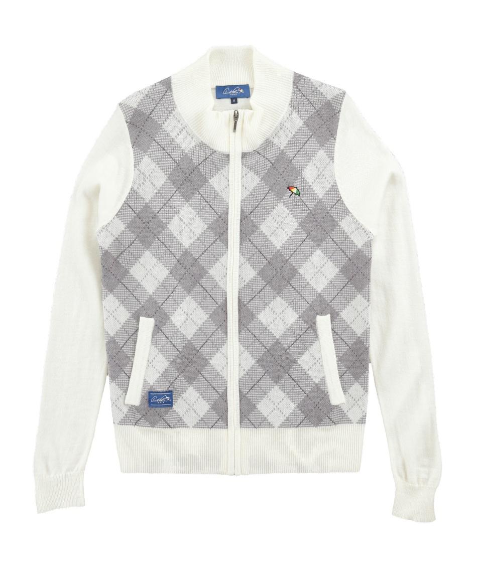 アーノルドパーマー(arnold palmer) ゴルフウェア セーター フルジップチェック柄ニットジャケット AP220406J01 【2020年秋冬モデル】