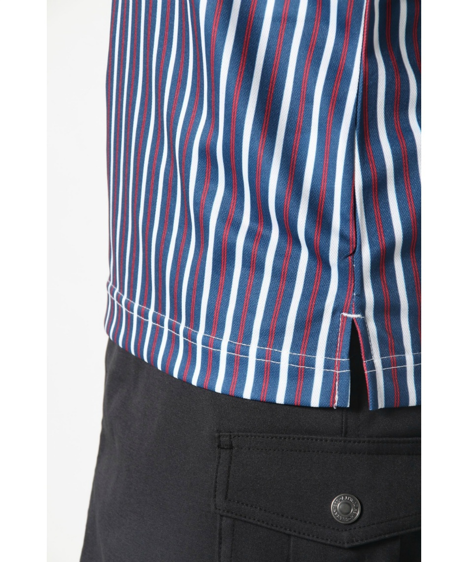 オプスト(OPST) ゴルフウェア 半袖ポロ インナーセット ストライプ半袖シャツ + 全メッシュUネック OP220301J04 + OP220310I04