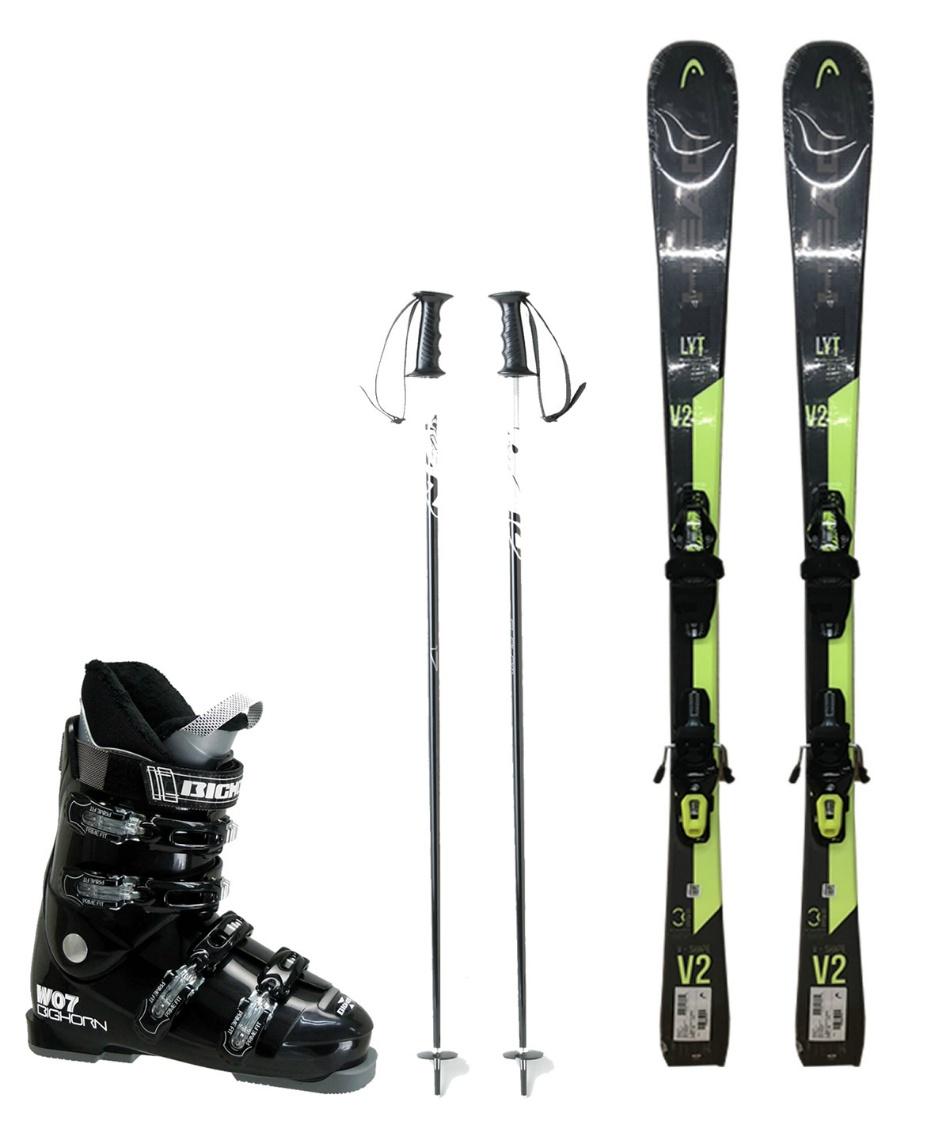 ヘッド(HEAD) スキー板 オールラウンド 板・金具・ブーツ・ポールセット V-SHAPE V2 +SLR9.0 GW+BH-W07+SLALOM