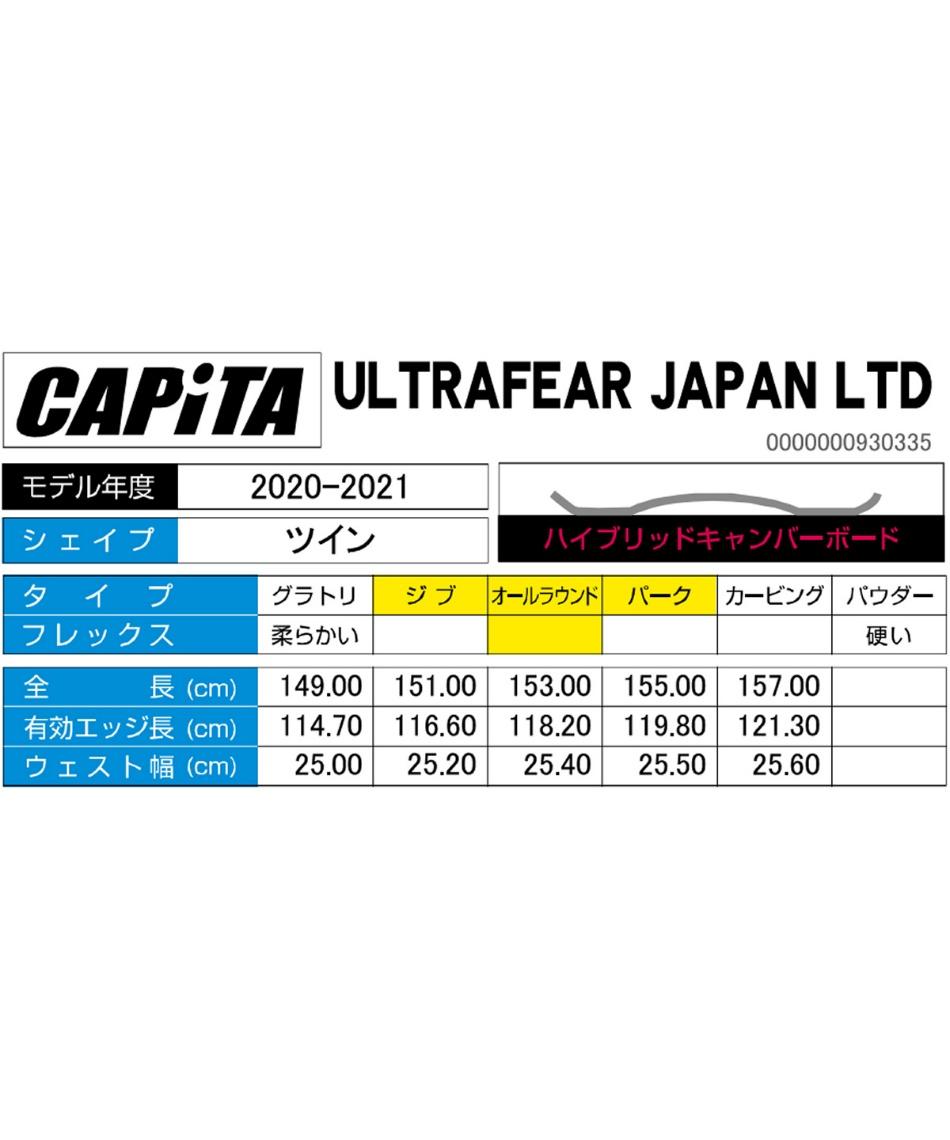 キャピタ(CAPITA) スノーボード 板 ウルトラフィア ジャパンリミテッド ULTRAFEAR JAPAN LTD 【国内正規品】【20-21 2021モデル】
