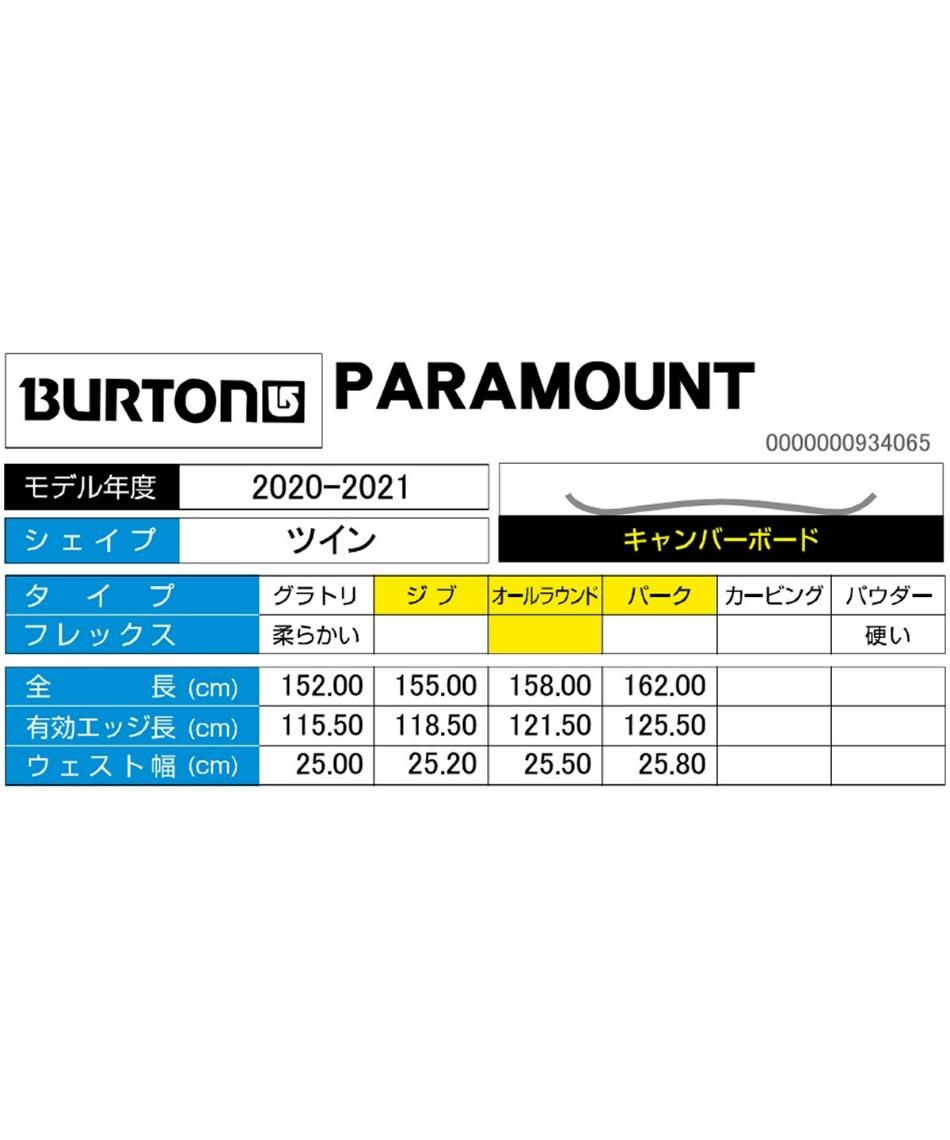 バートン(BURTON) スノーボード 板 パラマウント PARAMOUNT 【国内正規品】【20-21 2021モデル】