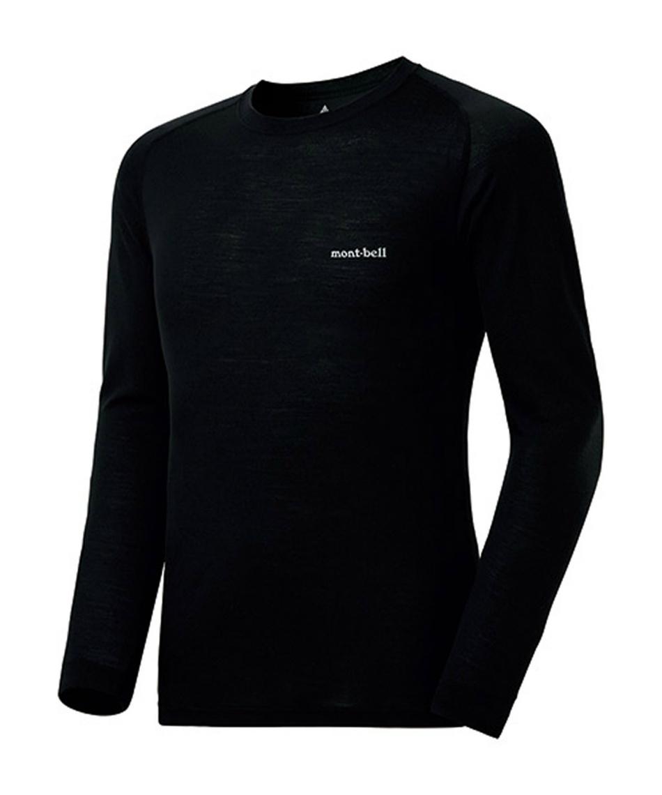 モンベル(mont bell) アンダーウェア 長袖 スーパーメリノウール M.W. ラウンドネックシャツ 1107654 BK