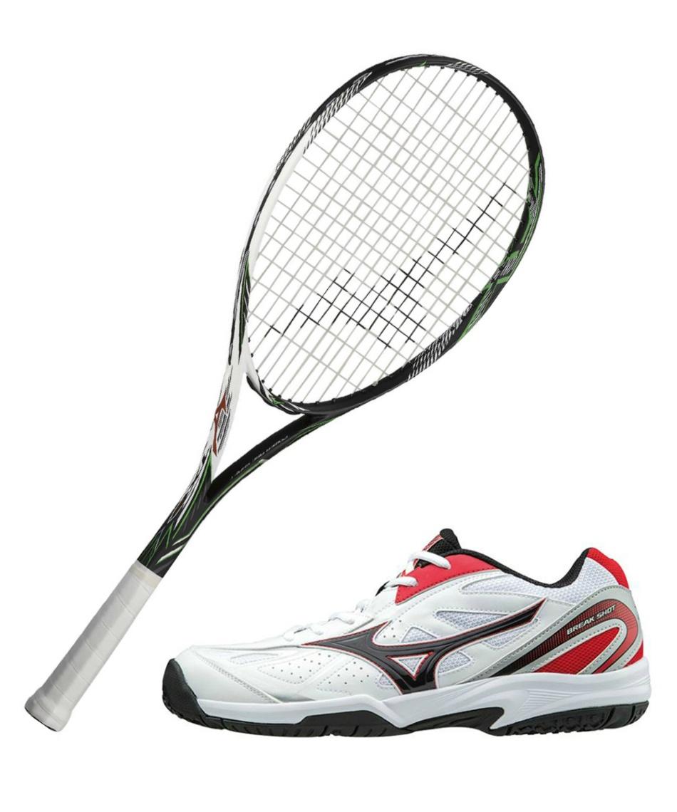 ミズノ(MIZUNO) ソフトテニスラケットセット オールラウンド TX900 + ブレイクショットOC ラケット + テニスシューズ オムニクレー