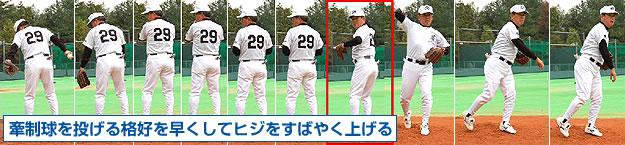 牽制球を投げる格好を早くしてヒジをすばやく上げる